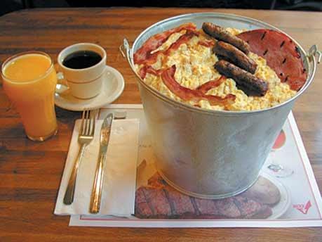 Britisches Frühstück im Eimer