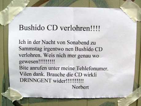Bushido CD verloren