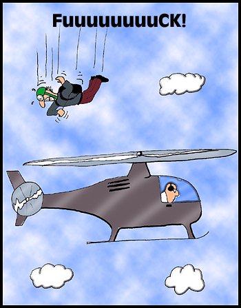 Fallschirmspringen ist gefährlich - Cartoon