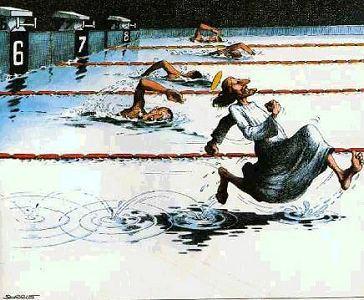Schwimmen: Jesus läuft übers Wasser - Cartoon