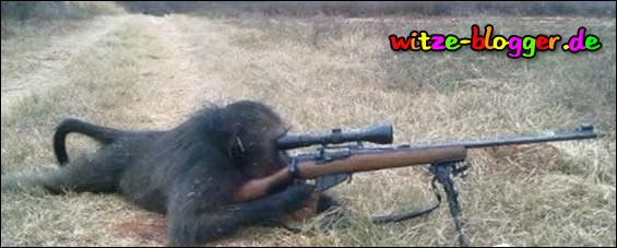 Affe als Schütze